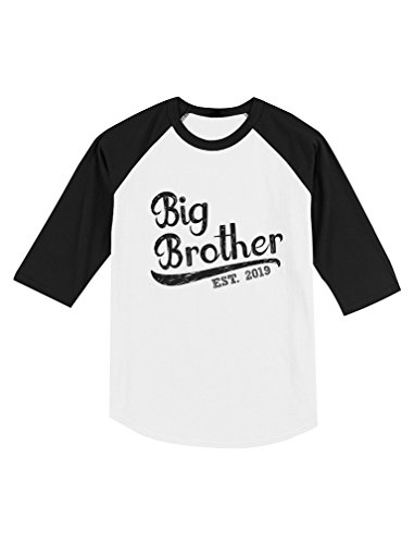 (Tstars - Gift for Big Brother 2019 Toddler Raglan 3/4 Sleeve Baseball Tee 4T Black/White)