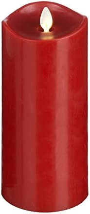Ganz LuxuryLite Home Decor Flameless LED Wax Pillar Candle 3 x 8- Red