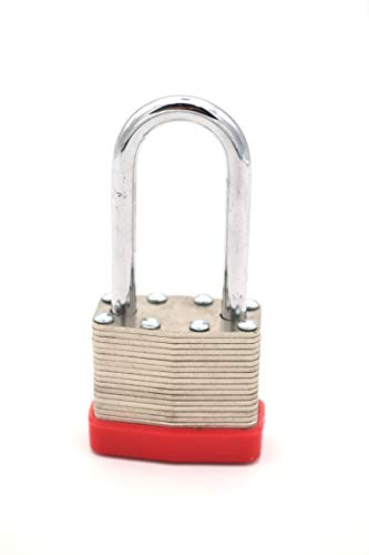 Keyed Padlock Long Shackle with Bumper Casing | Maximum Security - Indoor or Outdoor | Hardened Steel Shackle |1 Pack