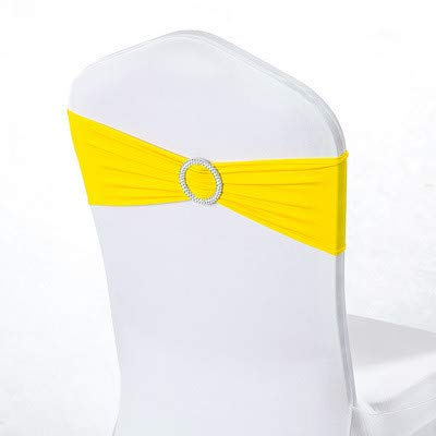 (letoo 50PCS Spandex Chair Sashes | Chair Bands with Buckle Slider| for Wedding, Hotel,Banquet, Party Decorations |Without White Covers(Yellow))
