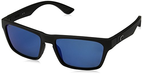 Costa del Mar Unisex-Adult Hinano Polarized Iridium Plastic Wayfarer Sunglasses, Blackout/Blue Mirror, 54.1 - Hinano Costa