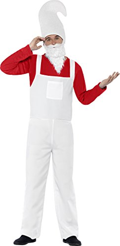 Smiffy's Men's Garden Gnome Costume, Top, Dungarees, Beard and Hat, Funny Side, Serious Fun, Size M, (Gnome Girl Costume For Toddlers)