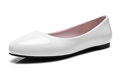 Aisun Damen Basic Lack Kunstleder Runde Zehen Low Cut Slip On Flach Ballerinas Weiß