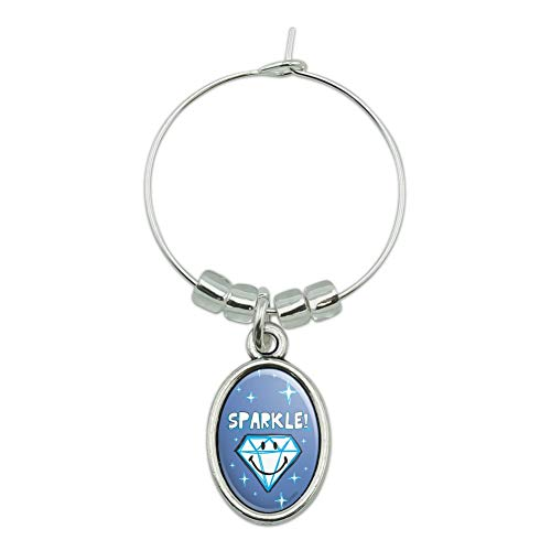 Sparkle Diamond Smiley Face Wedding Anniversary Officially Licensed Wine Glass Oval Charm Drink Marker ()