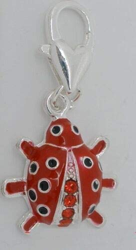 (Pendant Jewelry Making Red Enamel & Crystals Ladybug Silver Plated Lobsterclaw Clip-On Dangle Charm 1pc)