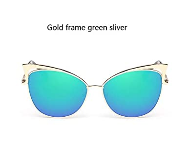 d4a9b9f0ddaa0 Shopystore Gold Frame Green Ohmida Sunglasses Women Fashion Cat Eye Mirror  Brand: Amazon.in: Clothing & Accessories