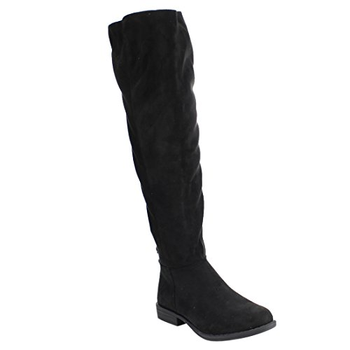 BAMBOO EF07 Women's Knee High Back Lace Up Zipper Riding Boots, Color:BLACK SUEDE, Size:8