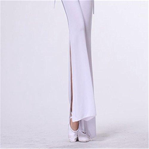 Mujeres Ladies Dance Pantalones Elastic Trousers Lycra Pantalones Dancewear Side Slit Culottes White