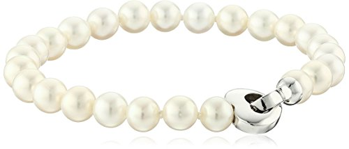 14k White Gold 6.5-7mm Cultured Freshwater Pearl Strand Bracelet with Heart (Pearl Strand Heart Bracelet)