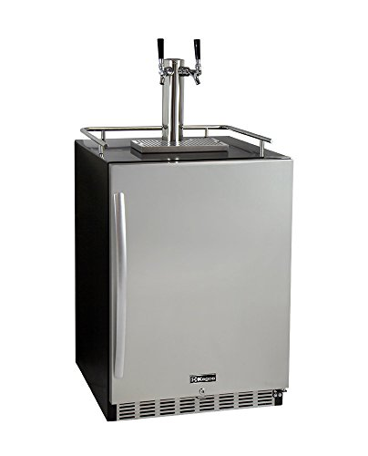 Kegco HK38BSU-2 2-Tap Undercounter Kegerator w/ X-CLUSIVE Premium Dispense Kit Double Door Undercounter Refrigerator