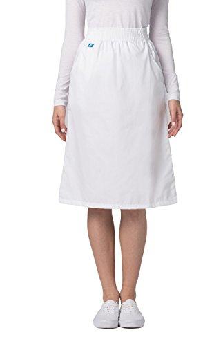 Adar Universal Knee-Length A-Line Side Pocket Scrub Skirt