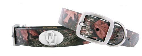 Zep-Pro Oklahoma Sooners Camouflage Leather Concho Dog Collar, Medium