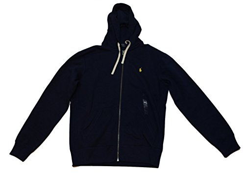 Polo Ralph Lauren Mens Hoodie Full Zip Navy w/Yellow Polo (Medium, Cruise Navy) by Polo Ralph Lauren