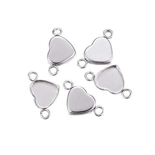 PH PandaHall 100pcs 304 Stainless Steel Cabochon Connector Heart Shape Links Heart Shape Pendant Blank Cabochon Base Setting Trays DIY Jewelry 11x20x2mm