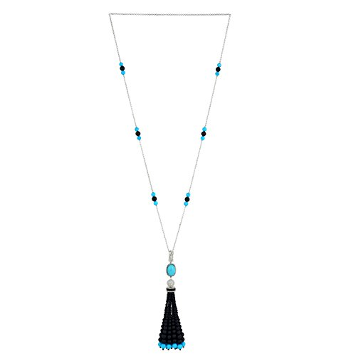 Onyx Turquoise Beads Diamond Tassel Necklace 18K Gold & Sterling Silver by Mettlle