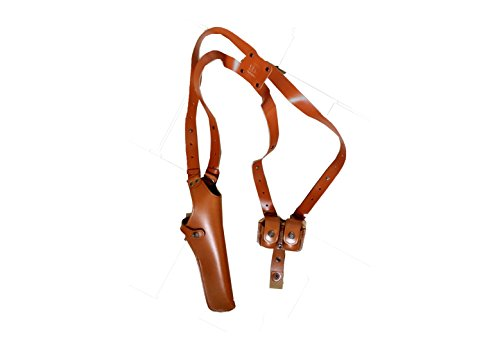 ALS455 Vertical Shoulder Holster with Double Speedloader Pouch Fits 357 Magnum 6'' & Similar Revolvers RH Handmade! Free Extension For Big Body Size! - 357 Taurus Magnum Revolver