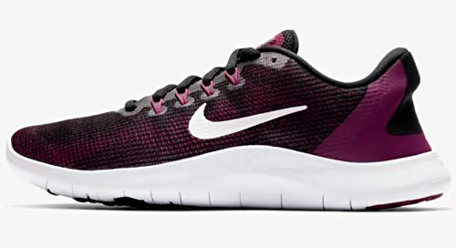 (Nike Women's Flex RN 2018 Running Shoe (9 M US, Black/White/True Berry/Burgundy Ash))