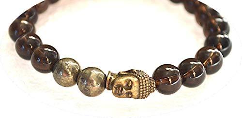 Pyrite Smoky quartz mala beads stretch Bracelet Wrist Bracelet 8 mm Reiki Healing stones - Energized buddhist Tibetan prayer beads Yoga Jewelry | US -