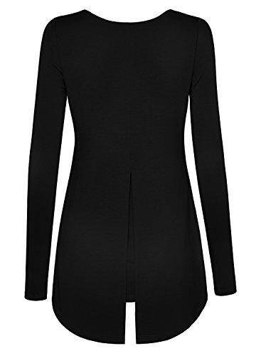 DJT Mujeres Camiseta Top con Dobladillo Asimetrico Negro