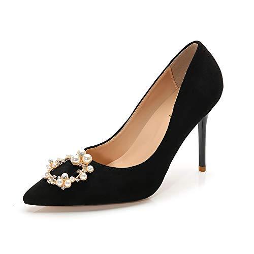 HRCxue Pumps Pumps Pumps Brautschuhe Hochzeit Schuhe rote Strass Brautjungfer Schuhe wies High Heels Stiletto einzelne Schuhe weiblich 5cm, 37, schwarz 5cm b2d9ee