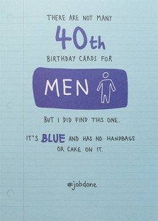 Male Humour 40th Birthday Card PLK0010