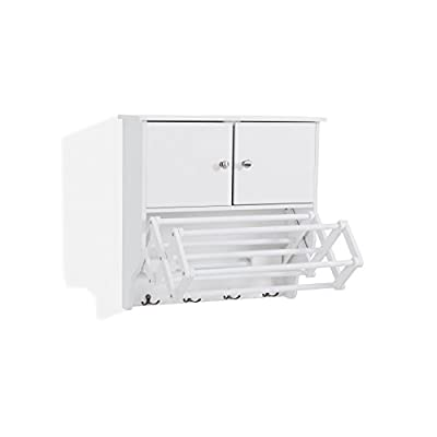 Danya B. Accordion Wall Mount Drying Rack with Cabinet,White - Dimensions: 22 1/4 inches high x 22 1/2 inches wide x 7 3/4 inches deep Contains one cabinet with doors, 7-rack collapsible drying rack and 4 double metal hooks for extra storage Water-resistant white finish - laundry-room, entryway-laundry-room, drying-racks - 31EfsBIEm3L. SS400  -