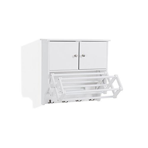 Danya B. Accordion Wall Mount Drying Rack with Cabinet,White