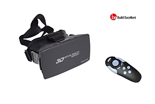 Build Excellent 3D VR Box Virtual Reality Headset 3D Glasses VR Headset Adjust Cardboard VR Goggles Works With 4.7~6.0 inch Smartphones Such as iPhone 6 plus Samsung Galaxy (VR&Remote)