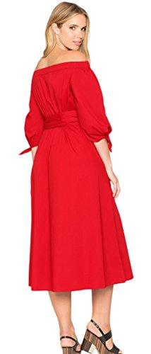 La Vogue Femme Robe Rouge Large Epaule Fendue Col Bateau avec Ceinture Maxi