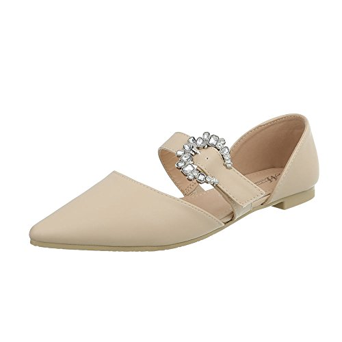 Bailarinas Ital Mujer Para Bailarinas Beige Clásicas Tacón Ancho Design Zapatos 127 39 trwwqCI