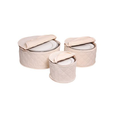 (Tabletop Storage 3 Piece Cotton Plate Case Set )