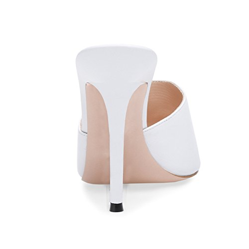 amp; amp; Office PU 42 Heel Evening Black White Career A Spring Size Slippers Sandals Party Toe Summer Color for Shoes Stiletto Pointed Women's 7BxPZqB
