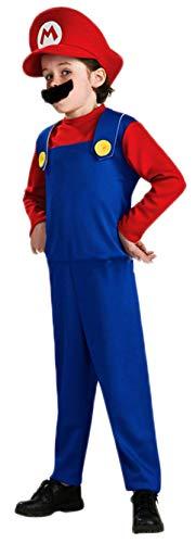 Mario Bro Halloween Costumes (ugoccam Super Brothers Halloween Kids Cosplay Costume Mario Brothers Kids Red)