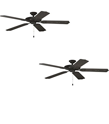 80 Airpro Ceiling Fan (Set of Two - No. P2502-80 - Airpro 52-in Forged Black Downrod or Flush Mount Ceiling Fan - Progress)