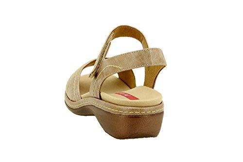 Calzado mujer confort de piel Piesanto 8801 sandalia velcro plantilla extraíble cómodo ancho Visón