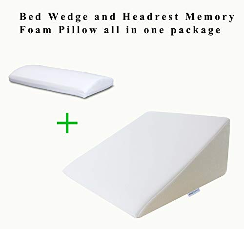 InteVision Foam Bed Wedge Pillow (25 x 24 x 12) & Headrest Pillow in ONE Package - 2 Memory Foam Top - Helps Relief for Acid Reflux, Post Surgery, Snoring, and Back Pain