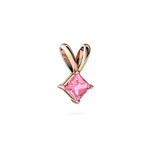 (14kt Rose Gold Lab Pink Sapphire 4mm Square Solitaire Pendant)