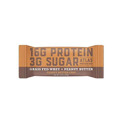 Atlas Bar – Keto/Low Carb Friendly Protein Bar, 2.01 Ounce – Grass Fed Whey, Low Sugar, All Natural, Gluten Free, Soy Free, GMO Free, and Sugar Alcohol Free (Peanut Butter Chip)