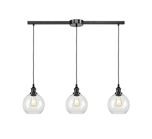 EUL Industrial Kitchen Island Lighting Linear Pendant Lighting Clear Glass Globe Oil Rubbed Bronze-3 Lights