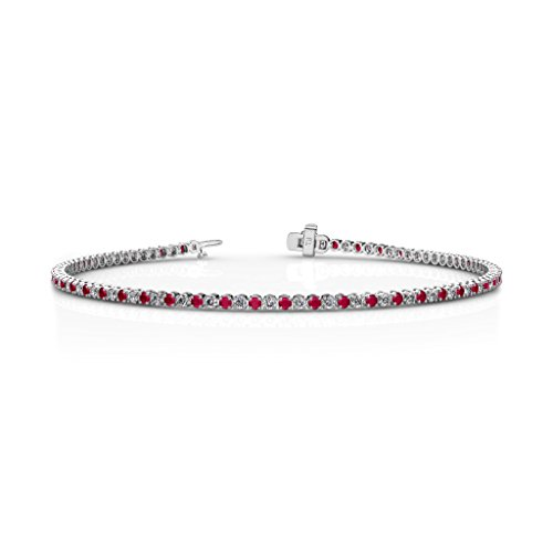 Ruby and Diamond 1.7mm (SI2-I1-Clarity, G-H-Color) Tennis Bracelet 1.35 cttw in 14K White Gold