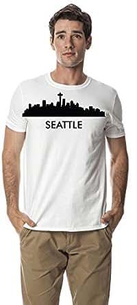 Seattle city skyline round neck cotton tshirt, White XL
