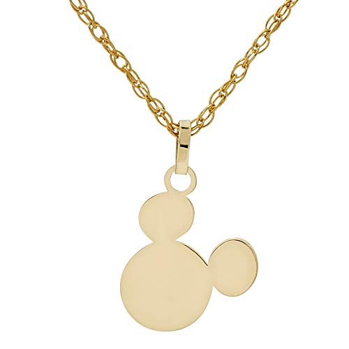 Disney Mickey Mouse 10KT Yellow Gold Pendant Necklace, 18 Inch Chain, Mickey's 90th Birthday Anniversary; Jewelry for Women and Girls