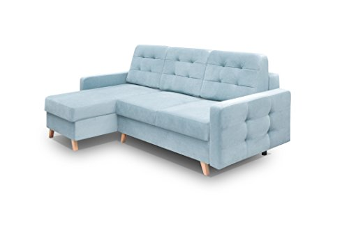 Vegas Futon Sectional Sofa Bed, Queen Sleeper with Storage Blue