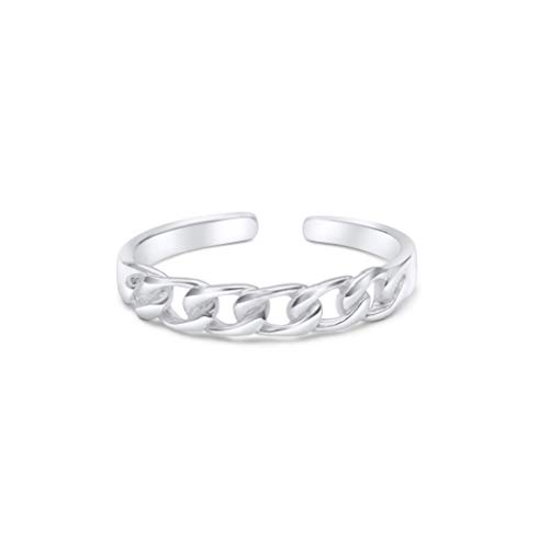 KEZEF Creations High Polished Sterling Silver Curb Link Toe Ring by ()