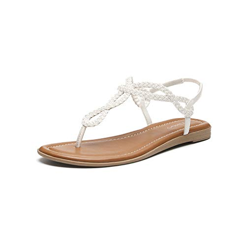 Women's Braided T-Strap Sandals Slingback Flats Roman Gladiator Thongs (9, White)