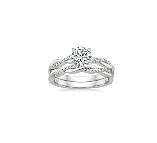 14k White Gold Petite Twisted Vine Diamond 1.85Ct D/VVS Clarity White Round Cut Diamond Ring,Ring For Women Engagement Wedding Anniversary Ring Set US Sizes 4-13 Available