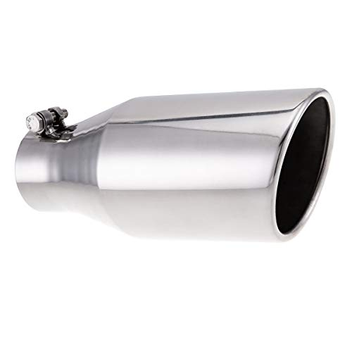 3 Inch Inlet Stainless Steel Exhaust tip 5 Inch Outlet 12 Inch Overall Length with Clamp On Design
