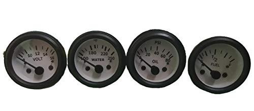 - Electrical Oil Pressure Gauge Temp Gauge Volt Meter Fuel Gauge -White Face Black Bezel 52 mm 2