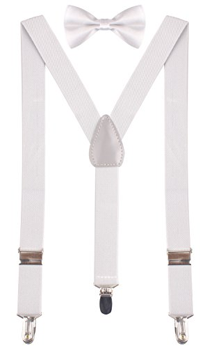 BODY STRENTH Baby Boys' Suspenders with Bow Tie Adjustable and Lightweight Light Grey