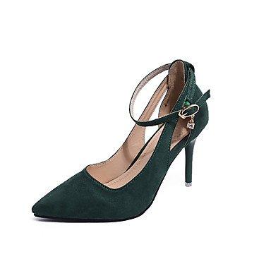 La mujer Tacones Zapatos Club Fleece Primavera Verano Oficina &Amp; Carrera Vestidos &Amp; Noche Club hebilla zapatos Stiletto talón negro verde Ruby4A-4 US8 / EU39 / UK6 / CN39